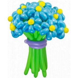 Цветы из шаров - голубые ромашки - 1 шт.