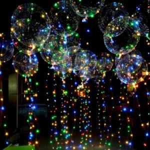 Оформление шарами - светящиеся большие кристальные шары со светодиодной лентой 21 шт.