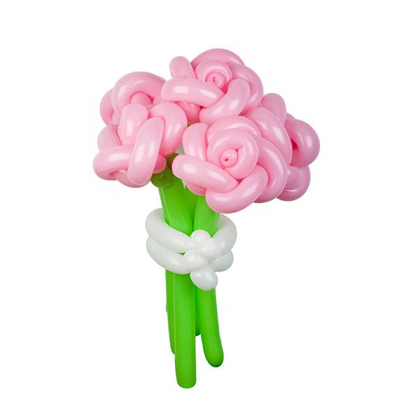 Цветы из шаров - розовые розы - 1 шт.