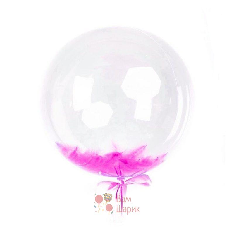 Кристальный шар Bubbles с фуксия перьями