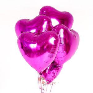 Фольгированные сердца фуксия