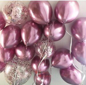 Шары под потолок розовый хром и прозрачные с розовыми конфетти