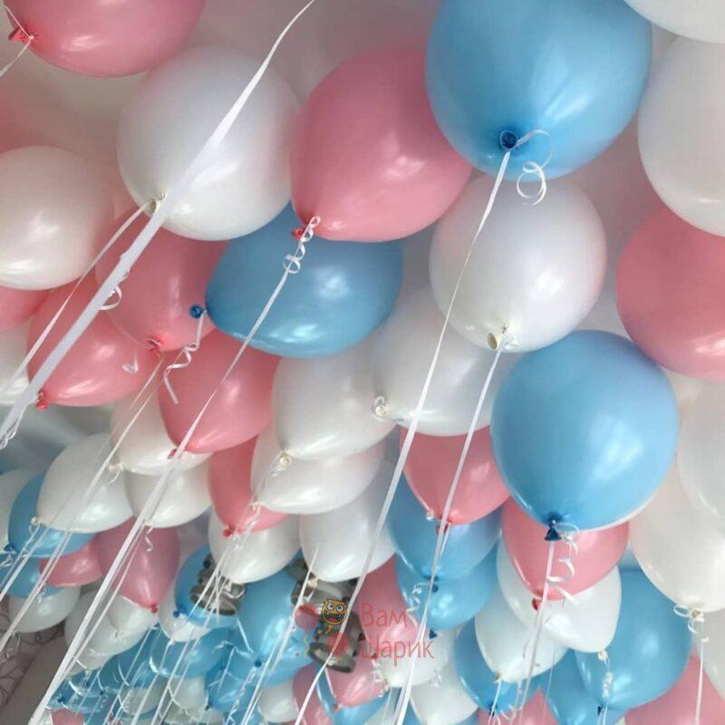 Шары под потолок белые, голубые, розовые