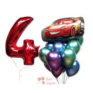 Композиция на день рождения тачки и хромированныe шары с цифрой