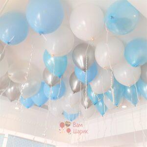 Шары под потолок белые, голубые, серебряные