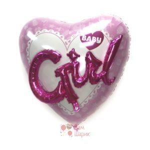Большое розовое сердце 3D Girl