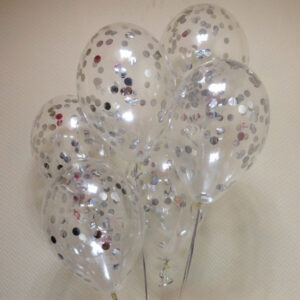 Прозрачные шары с серебряными конфетти