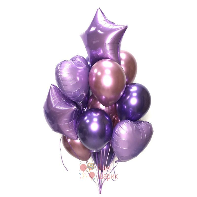 Композиция из розовых и фиолетовых хромированных шаров с сердцами и звездами