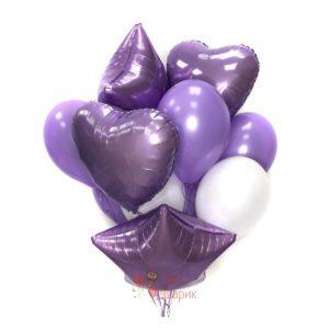 Композиция бело-фиолетовых шаров с сердцами и звездами