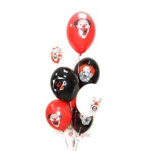 Облако черных, белых и красных шаров на Хэллоуин