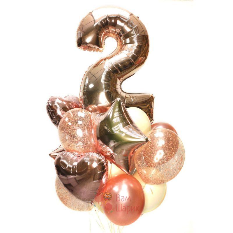 Воздушные шары на День рождения с цифрой, звездами и сердцами розовое золото