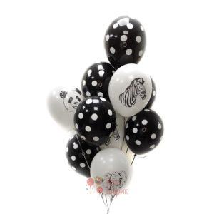 Облако черных шаров в точку и белых шаров с животными