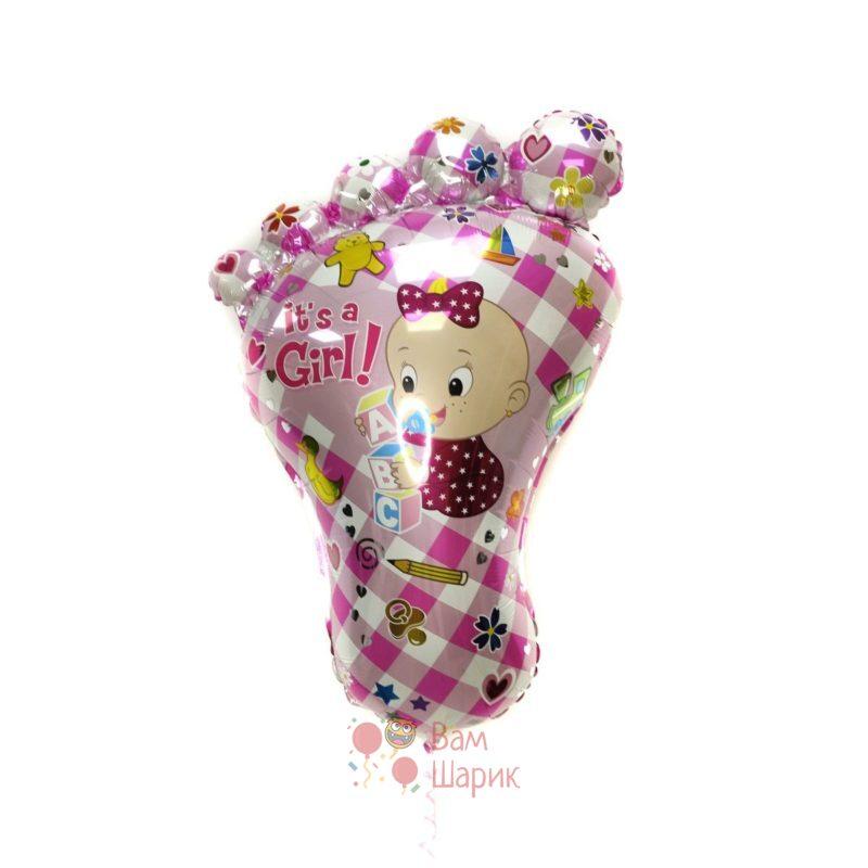 Фольгированная фигура стопа розовая для девочки