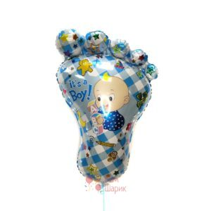 Фольгированная фигура стопа голубая для мальчика