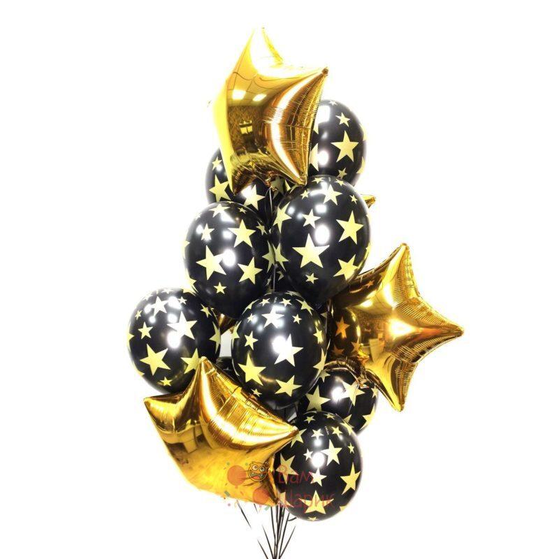 Композиция с золотыми звездами и черными шарами со звездами