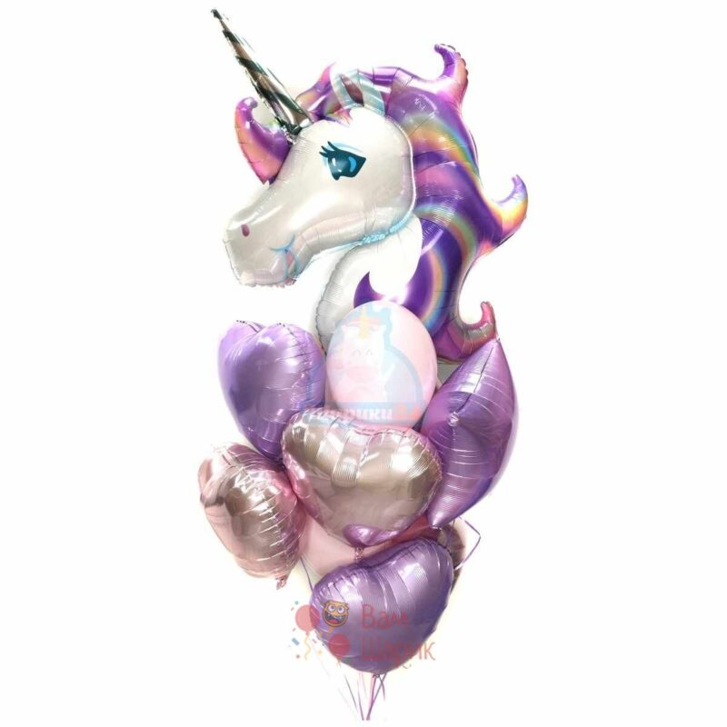 Композиция из розовых и сиреневых воздушных шаров с головой Единорога