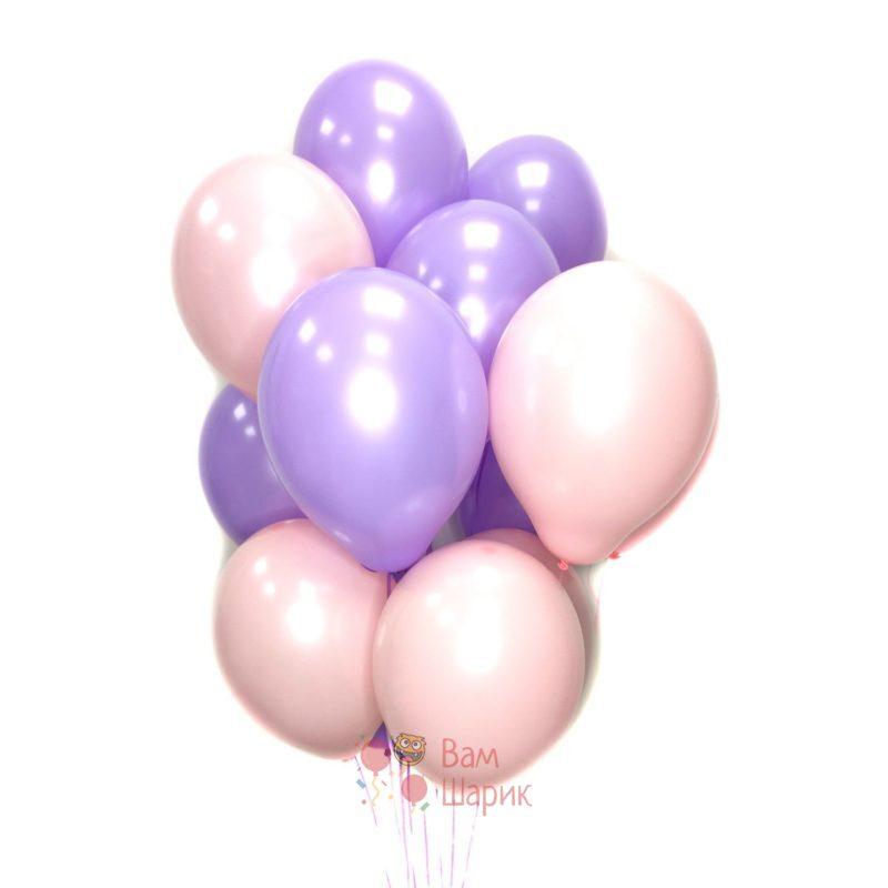 Воздушные розовые и фиолетовые шары