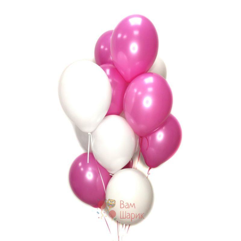 Воздушные шары белые и фуксия