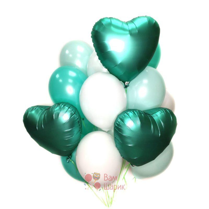 Композиция из воздушных белых и мятных шаров с сердцами для девушки