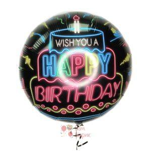 Фольгированный черный круг Happy Birthday