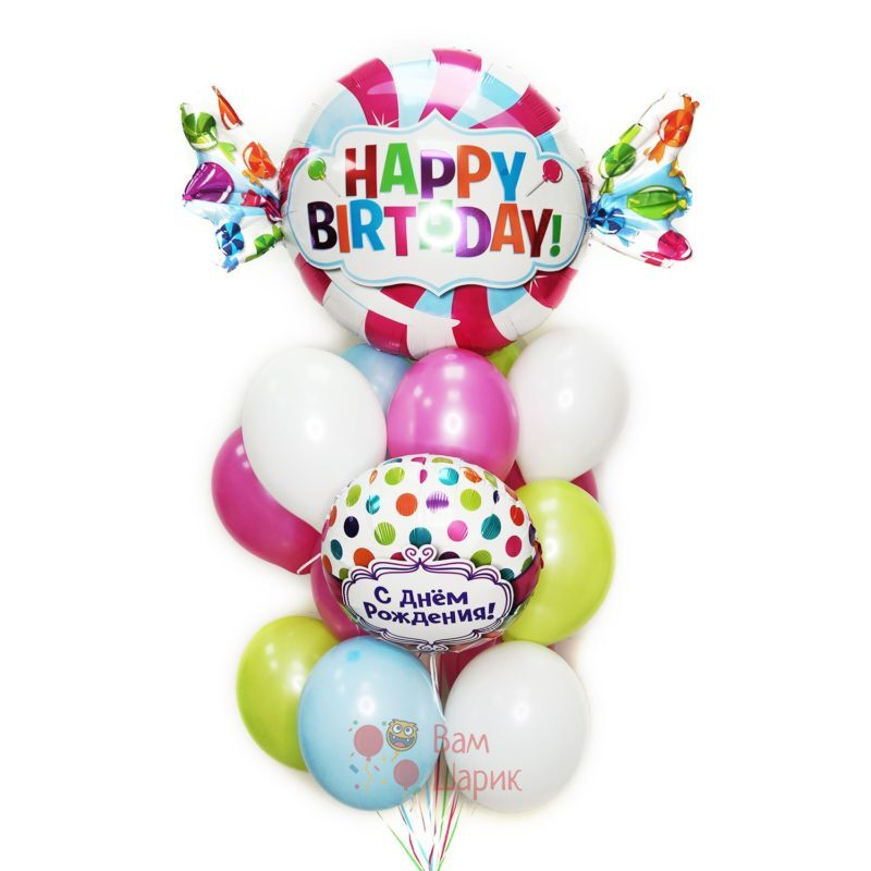Облако воздушных шаров с фольгированным шаром и конфетой на день рождения