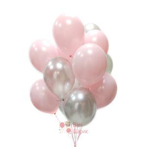 Облако розовых и серебряных шаров
