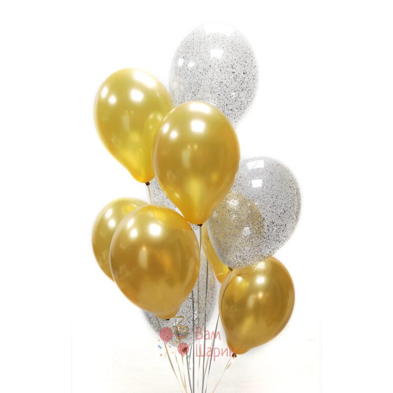 Облако золотых шаров и прозрачных с серебряными блестками