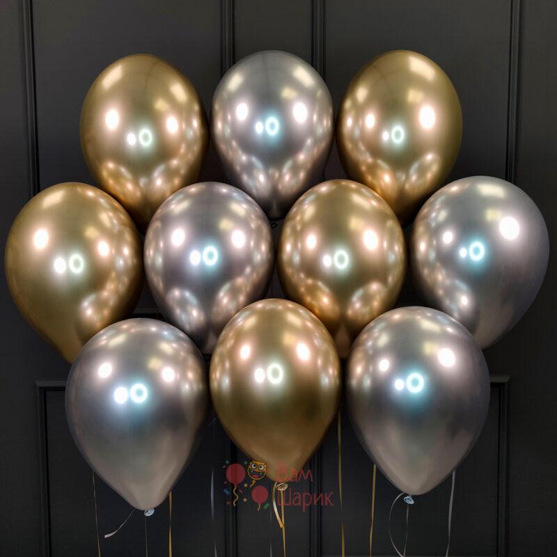 Облако серебряных и золотых хромированных шаров
