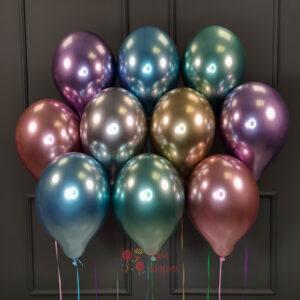 Воздушные разноцветные хромированные шары