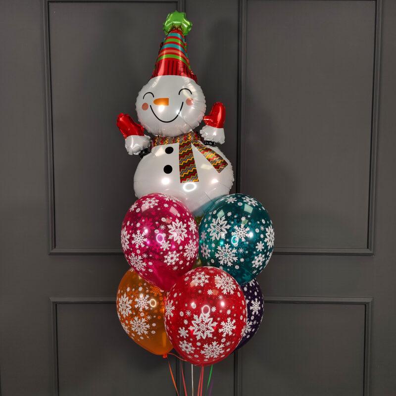 Фольгированный снеговик веселый с разноцветными снежинками
