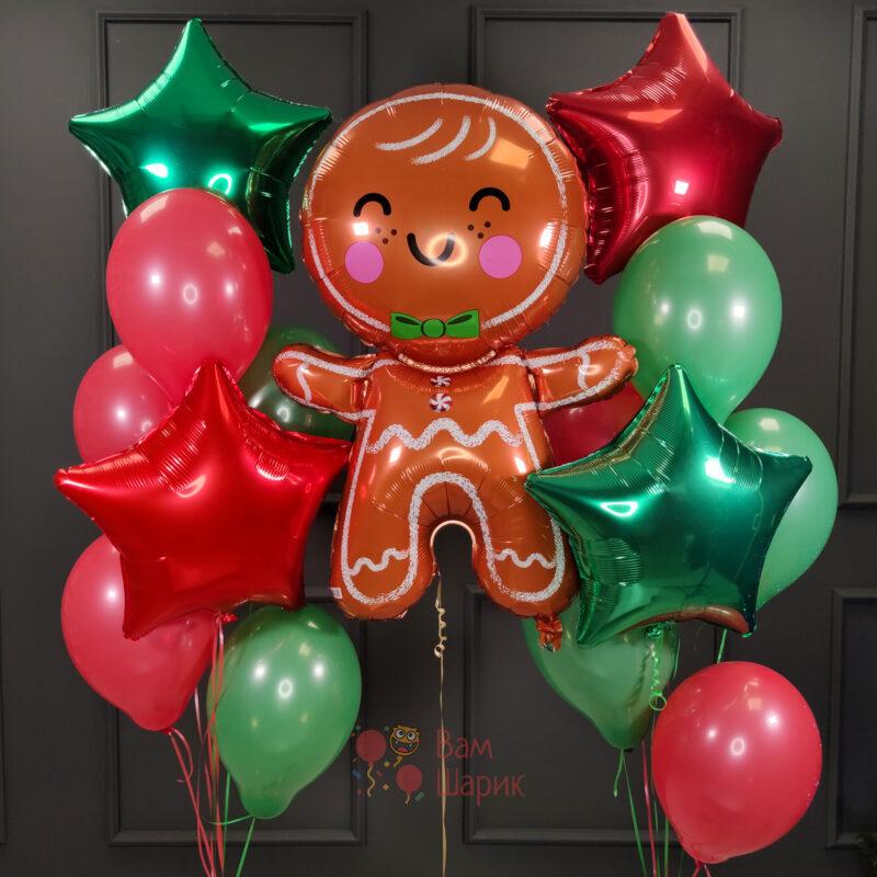 Композиция на Новый Год с печенькой и звездами