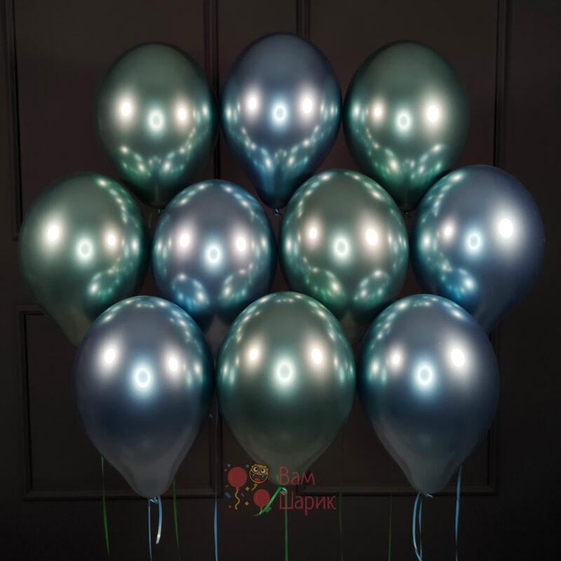 Облако голубых и зеленых хромированных шаров