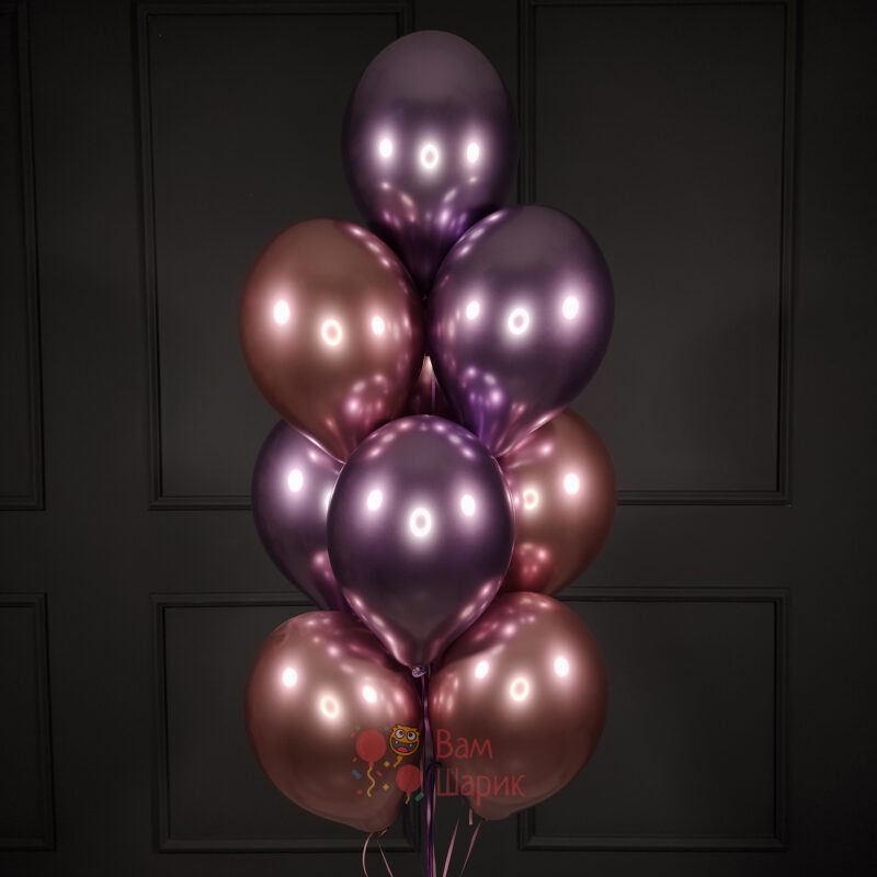 Облако розовых и фиолетовых хромированных шаров
