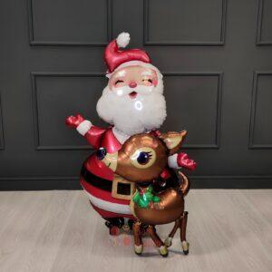 Ходячая фольгированная фигура Санта и Олень