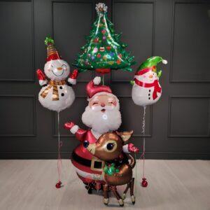 Композиция на Новый Год с Сантой Снеговиками и звездами