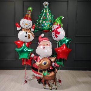 Композиция на Новый Год с Сантой и Снеговиками