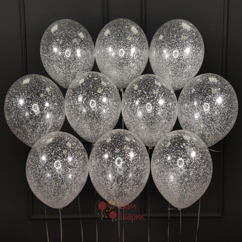 Облако прозрачных шаров с серебряными блестками