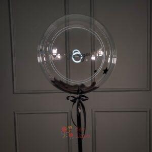 Кристальный шар Bubbles с белыми перьями и надписью