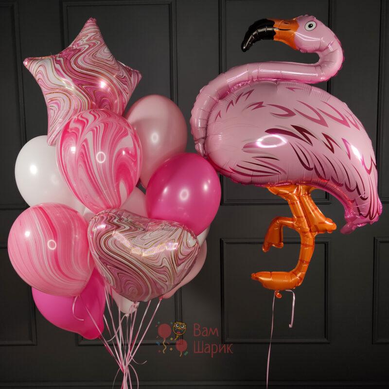 Композиция из розовых шаров с агатами и Фламинго