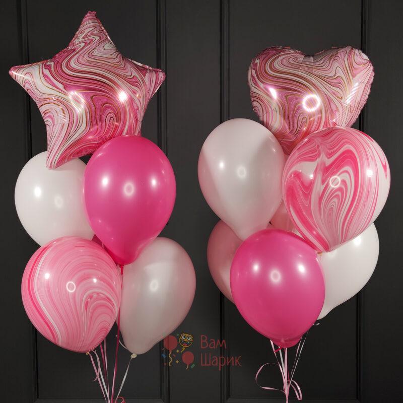 Композиция из розовых шаров и розовых агатов