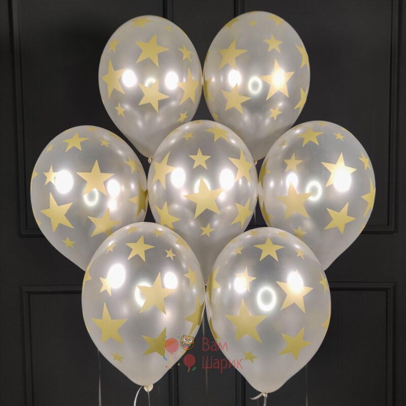 Облако серебряных шаров с золотыми звездами