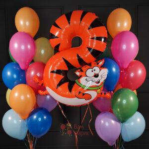 Композиция из разноцветных шаров с цифрой в виде животного