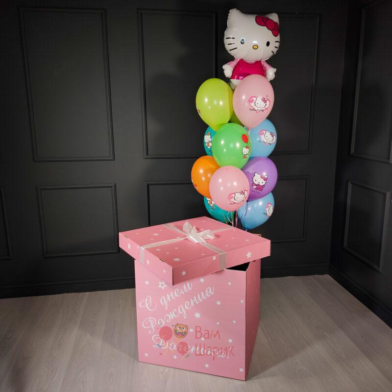 Композиция разноцветных шаров с Hello Kitty в розовой коробке