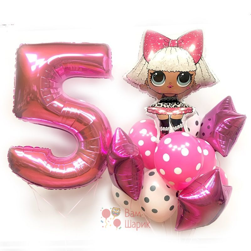 Композиция из воздушных шаров с куклой LOL и цифрой