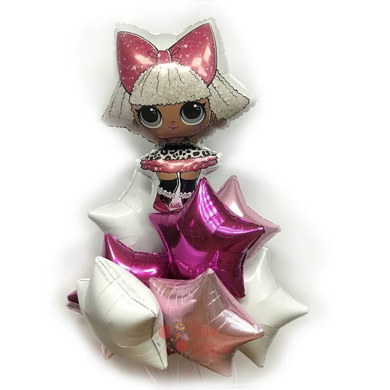 Композиция из воздушных шаров с куклой LOL и звездами