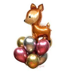 Композиция из гелиевых шаров хромированных с олененком