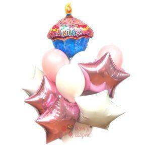 Композиция воздушных шаров с кексиком и звездами на день рождения