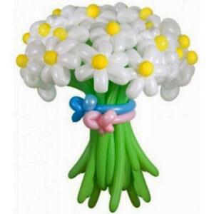 Цветы из шаров - ромашки белые с зеленым стеблем - 1 шт.