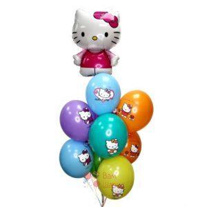Композиция разноцветных шаров с Hello Kitty