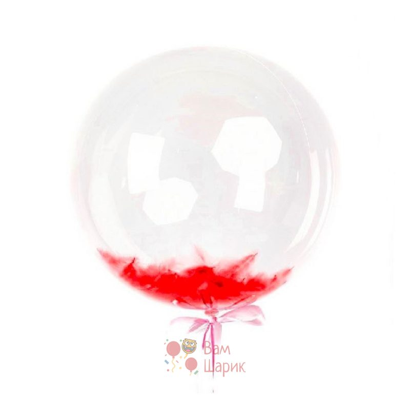 Кристальный шар Bubbles с красными перьями